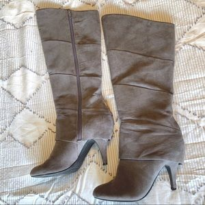 Grey Suede Pledge Heeled Boot Fergalicious